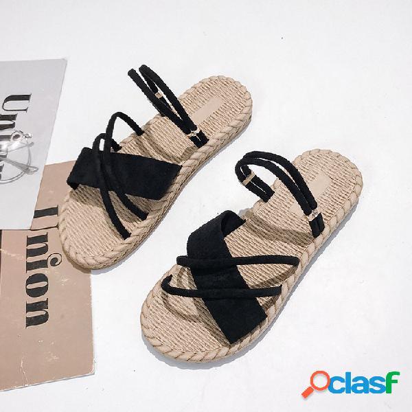 Mujer color sólido soft pisos inferiores playa zapatillas