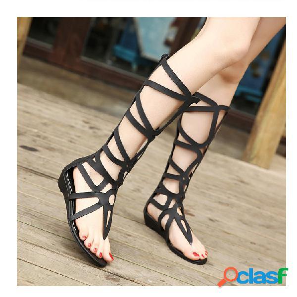 Mujer color sólido dedo del pie del clip zipper roman planos sandalias