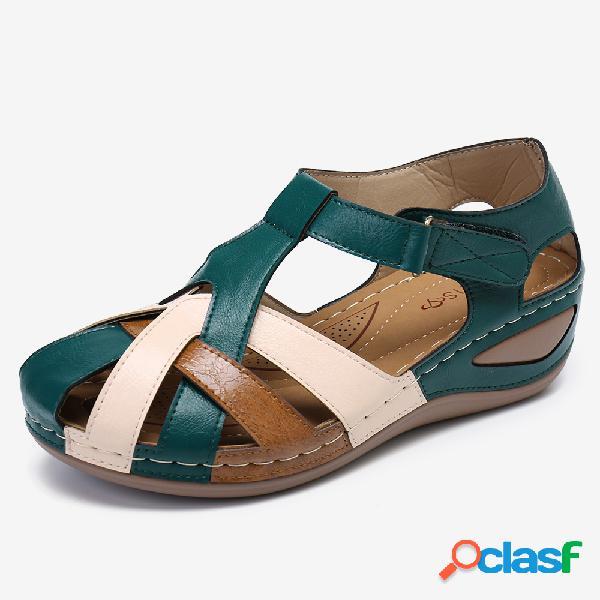 Lostisy mujer color block cross strap cómodo usable casual wedges sandalias