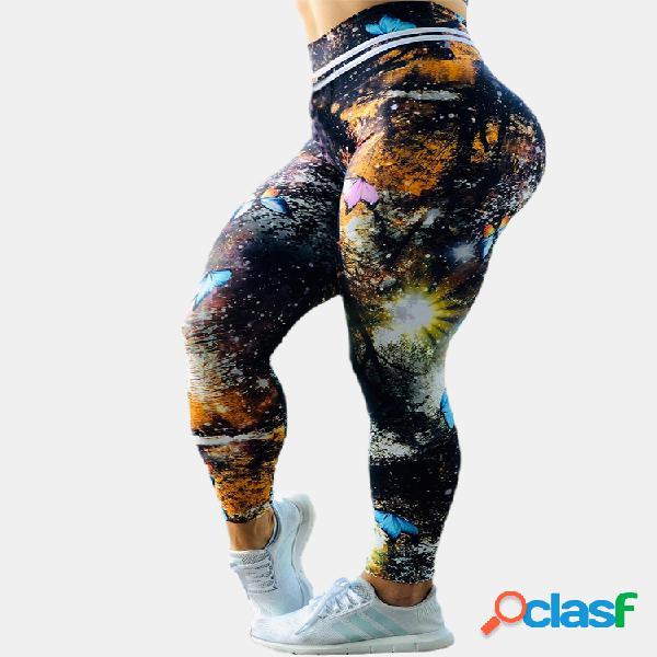 Sport butterfly starry print cintura elástica yoga pantalones