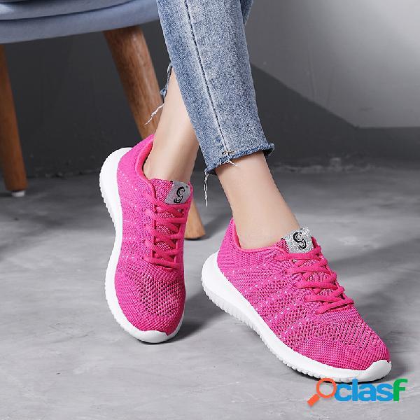 Zapatos deportivos de color sólido cómodos con cordones huecos para mujer