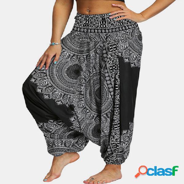 Linterna con estampado de mujer yoga pantalón plus talla aptitud danza deportiva pantalones