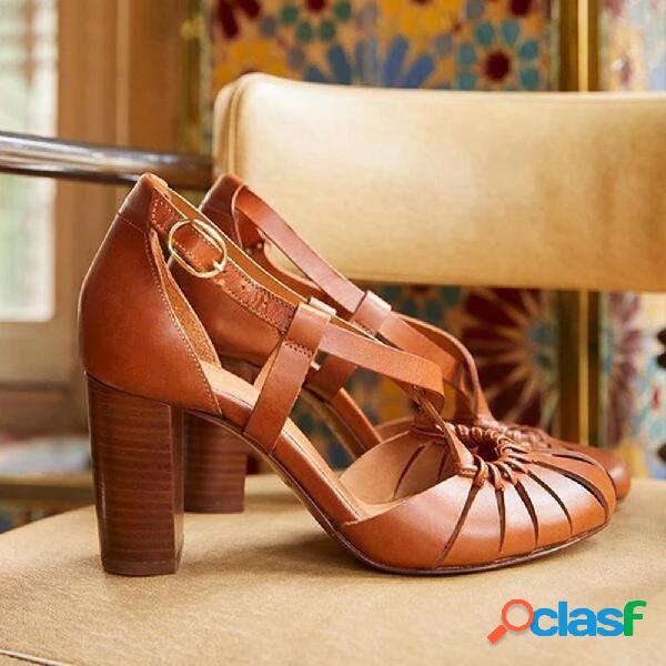 Mujer color sólido hebilla crossing banda zapatos de tacón alto