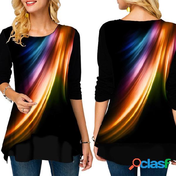 Las mujeres europeas y americanas con mejores ventas imprimieron alrededor cuello camiseta floja de manga larga
