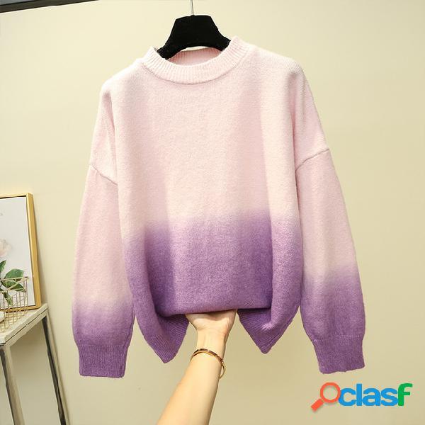 Nuevo suéter de manga larga con degradado suelto suéter grueso salvaje fuera de la ropa de mujer