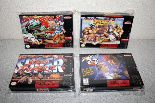 4 cajas custom para juegos snes street fighter (solo cajas)