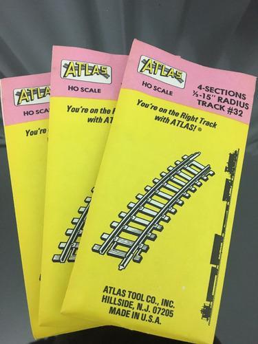 6 atlas ho scale 4 sections 15 radius track 32 (pack de 6)