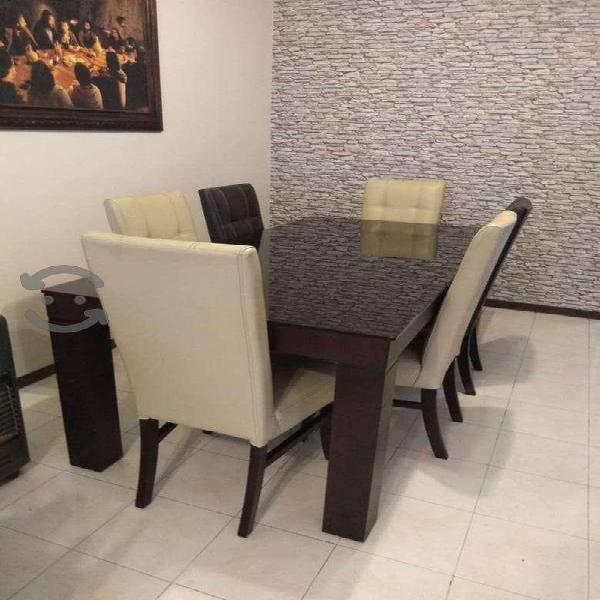 Mesa para comedor y bufetero color chocolate