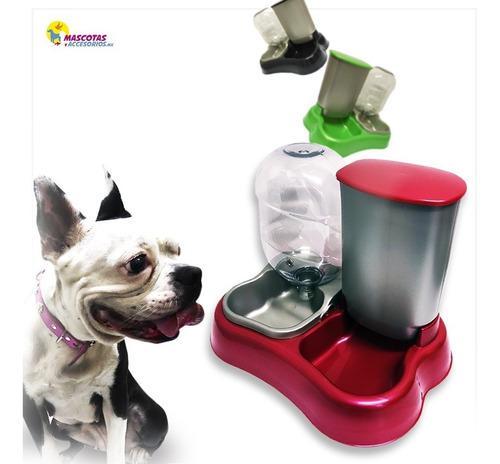 Dispensador comedero y bebedero 2 en 1 rojo perros gatos