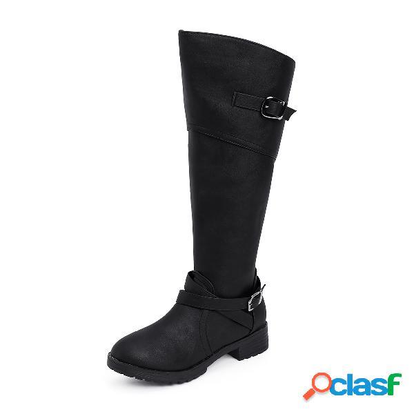 Botas anchas negras de doble pantorrilla