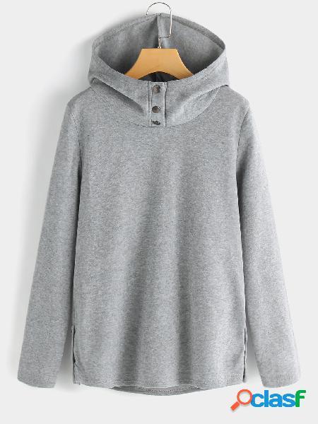 Sudadera con capucha y diseño de botones de manga larga en color gris claro