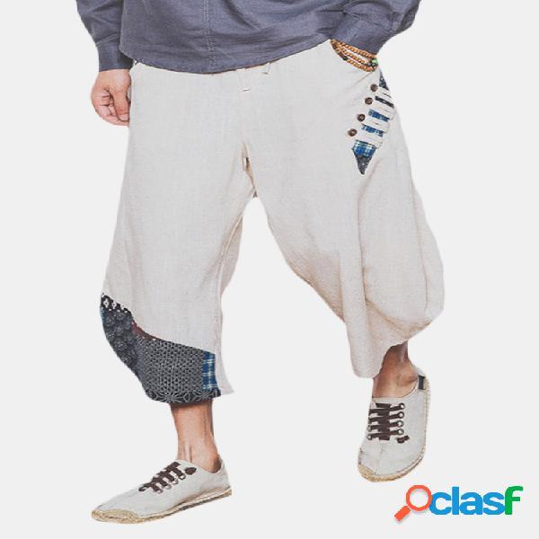 Pantalón ancho algodón lino