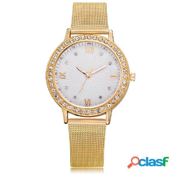 Relojes para mujer minimalista de la banda de acero relojes para mujer diamante de la fecha del dial de la prenda impermeable
