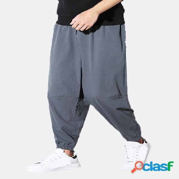 Pantalón monocolor lino
