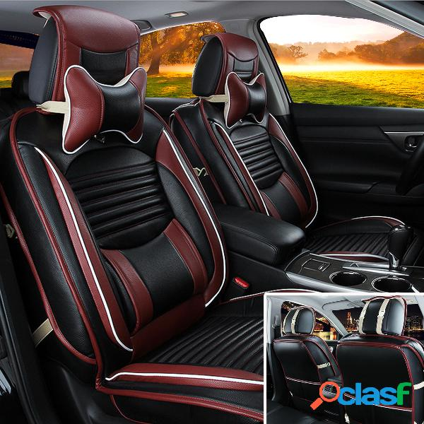 Cojín de la cubierta del asiento de coche del anillo de la pu del cuero negro completo que rodea el conjunto delantero y posterior apto para el coche de 5 asientos