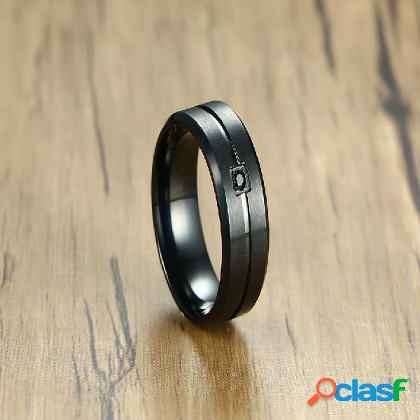 Anillos de dedo de moda ip negro chapado en acero inoxidable cubic zirconia anillos joyería causal para los hombres
