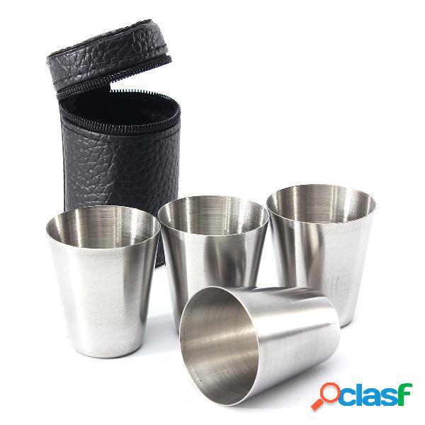 4 piezas cámping juego de vasos de acero inoxidable para viaje con cuero de pu