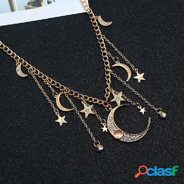 Collar retro de la borla de la estrella de la luna de las borlas colgante collar de la aleación para mujer