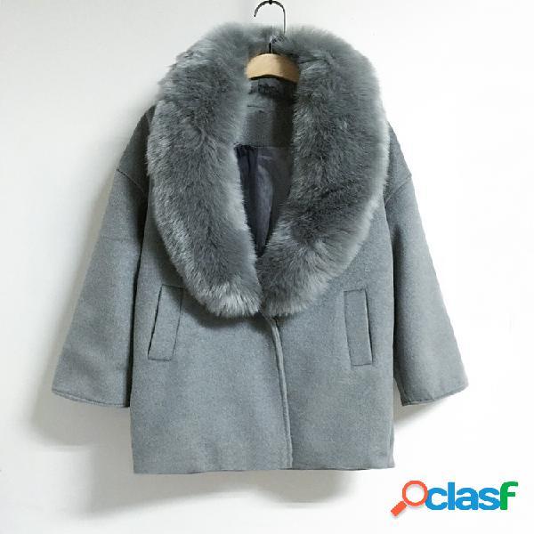 Abrigo de cachemira suelto de gran tamaño collar de piel grande un abrigo de lana