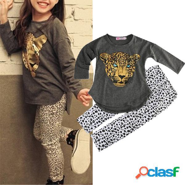 Conjunto informal de manga larga con estampado de leopardo tigre para niña para 2-11y
