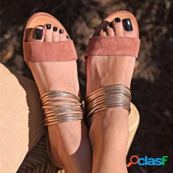 Mujer gran tamaño, dos partes, punta abierta, cómodo, plano zapatillas