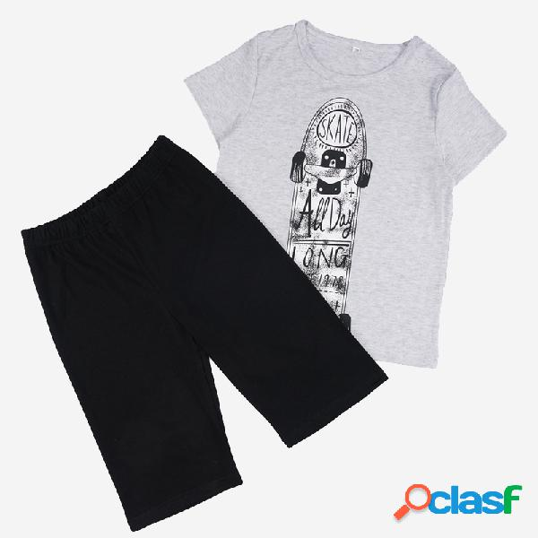 Traje de ropa informal de manga corta con estampado de monopatín para niño de 6-12 años