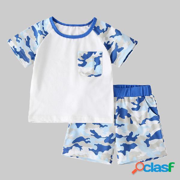 Conjunto de ropa casual de manga corta de camuflaje para niño, para 2-8 años