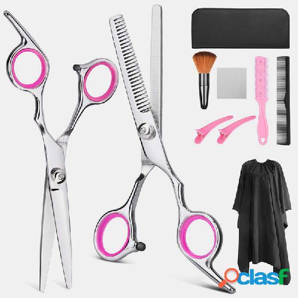 Cabello juego de corte herramienta profesional cabello tijeras de vestir tijeras de dientes tijeras planas juego para el hogar