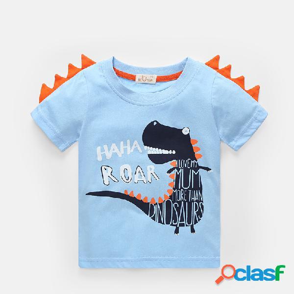 Camiseta informal de manga corta de verano con estampado de dinosaurio, letra para niño, para 2-10 años