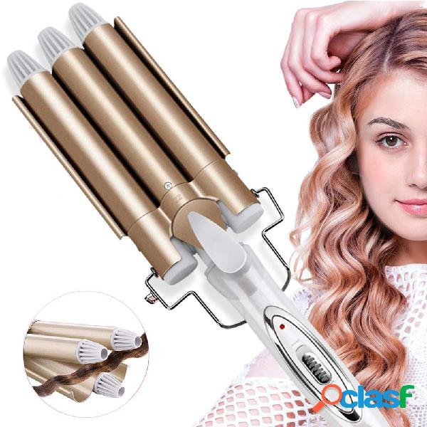 Plancha profesional cerámico rizador eléctrico de barril triple cabello wand wave cabello styler cabello styler herramientas