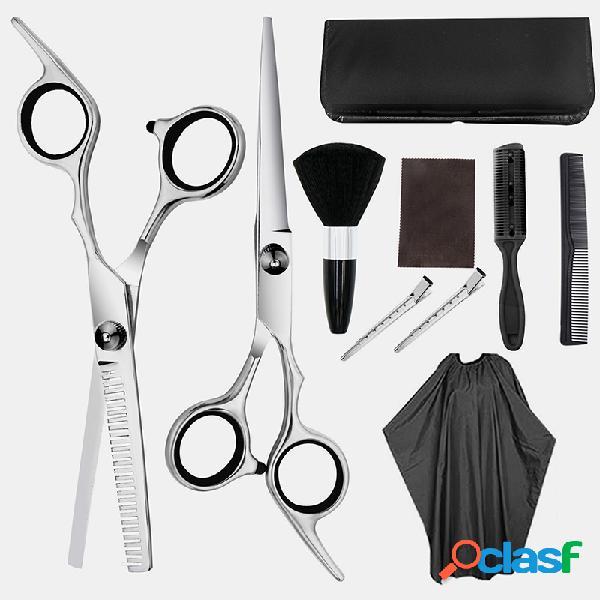 Profesional cabello juego de corte herramienta cabello tijeras de vestir tijeras de dientes tijeras planas juego para el hogar