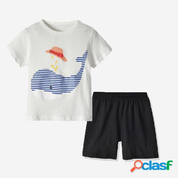 Conjunto de pijama casual de manga corta con estampado de ballena para niño de 1-5 años