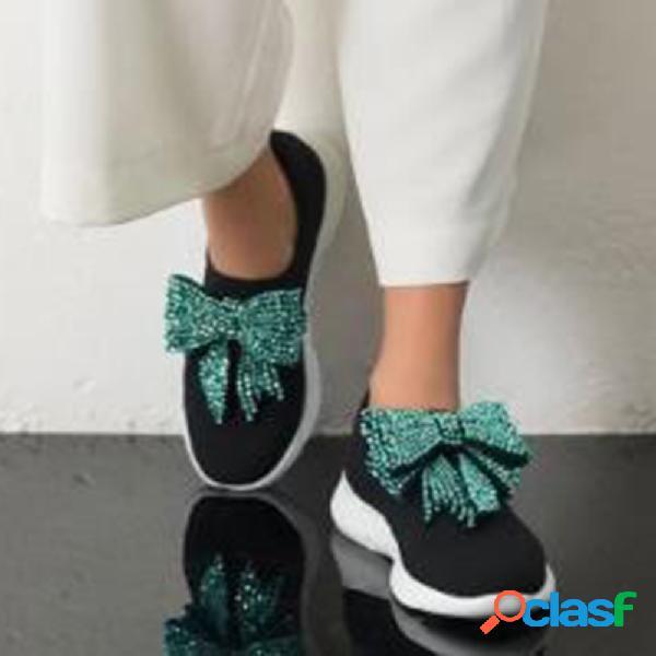 Mujer butterfly knot decor comfy soft zapatillas de deporte casuales para vestir