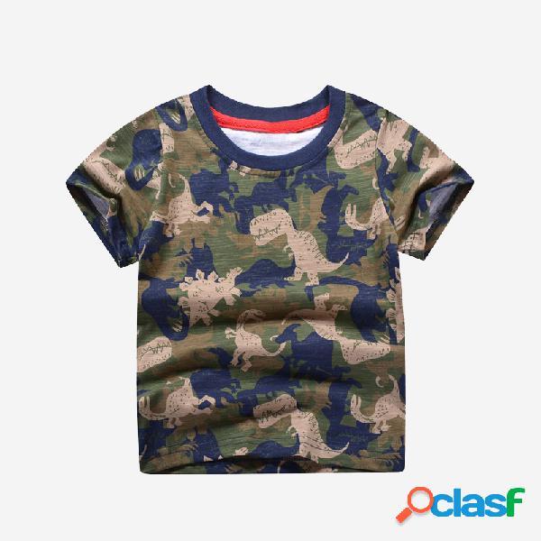 Camiseta informal de manga corta de verano con estampado de dinosaurio de camuflaje para niño de 2-10 años