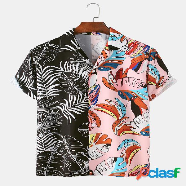 Diversión para hombres planta hojas graffiti patchwork playa casual camisa
