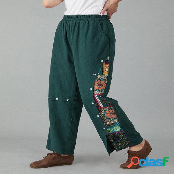 Vendimia pantalón estampado con bolsillo elástico en la cintura