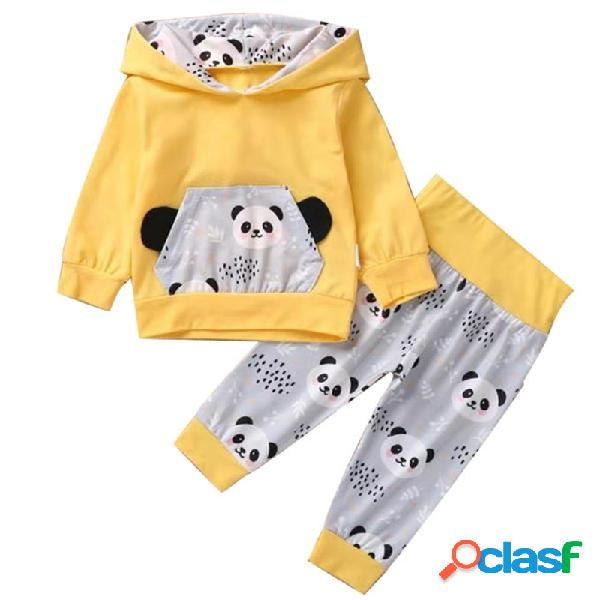 Conjunto informal de manga larga con capucha y estampado de bebé panda para 0-24 m