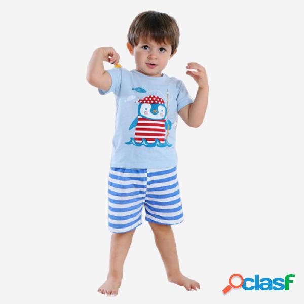 Conjunto de pijama informal de manga corta con estampado de rayas de pingüino para niño de 1-5 años
