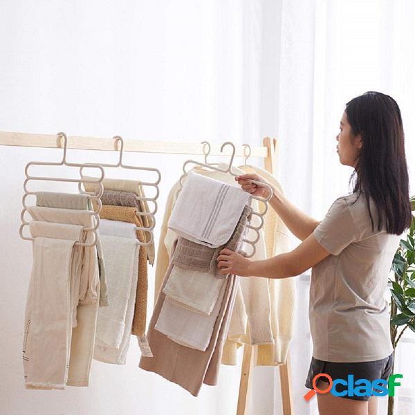 Inicio almacenamiento multicapa multifunción percha colgante de cinco capas toalla bufandas estante para ropa