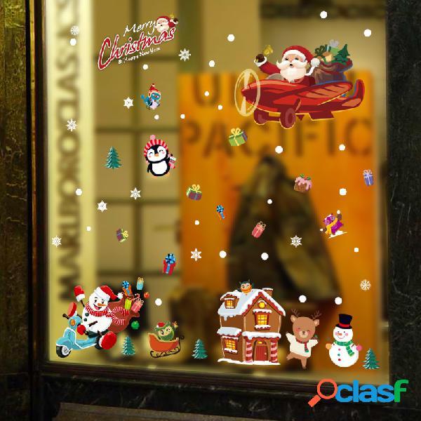 Miico sk9245 etiqueta de navidad animales de dibujos animados pegatinas de pared extraíbles para decoración de navidad