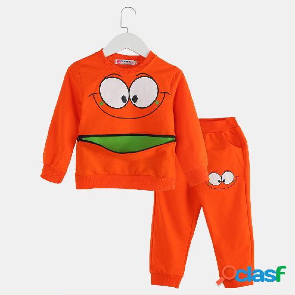 Traje de suéter informal de manga larga con cremallera y sonrisa para niña y niño para 2-9 años
