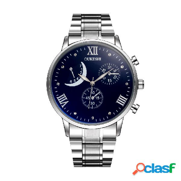 Relojes impermeables de la moda para hombre relojes para hombre de acero inoxidable relojes de cuarzo de la luna creciente