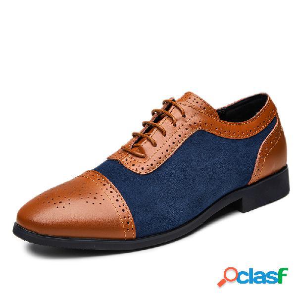 Zapatos de vestir formales de gran tamaño de los hombres brogue que bloquean el color con cordones