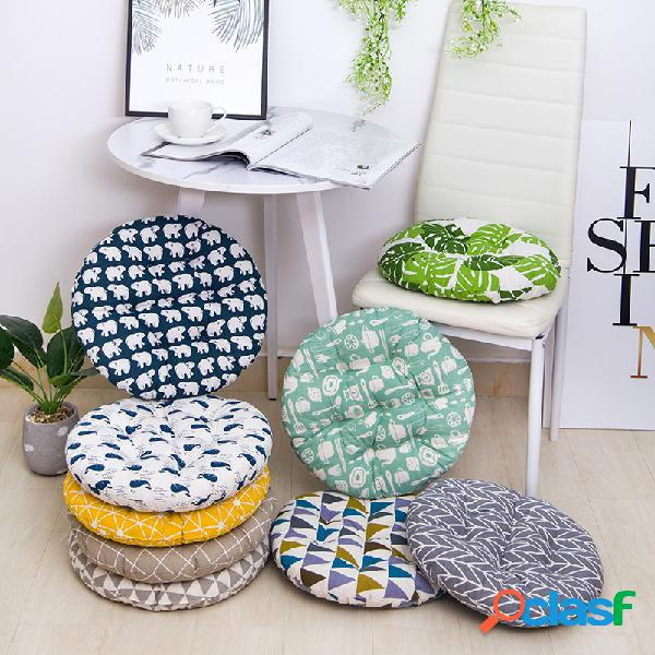 Cojín de asiento de algodón de lino transpirable de forma redonda gruesa cojín de silla lavable de verano 40/45 / 50cm 8cm