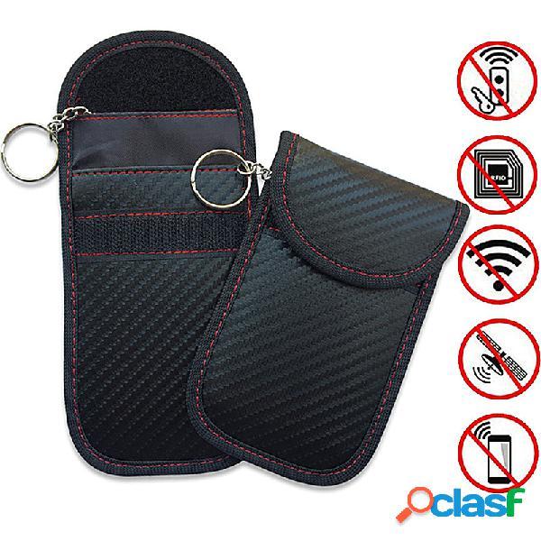 Paquete de llaves de protección contra robo de fibra de carbono control remoto cubierta protectora electromagnética paquete de llaves