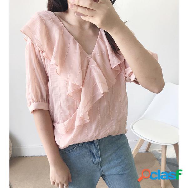 Season new solid color simple chiffon camisa mujer hoja collar manga de dos piezas ropa de mujer