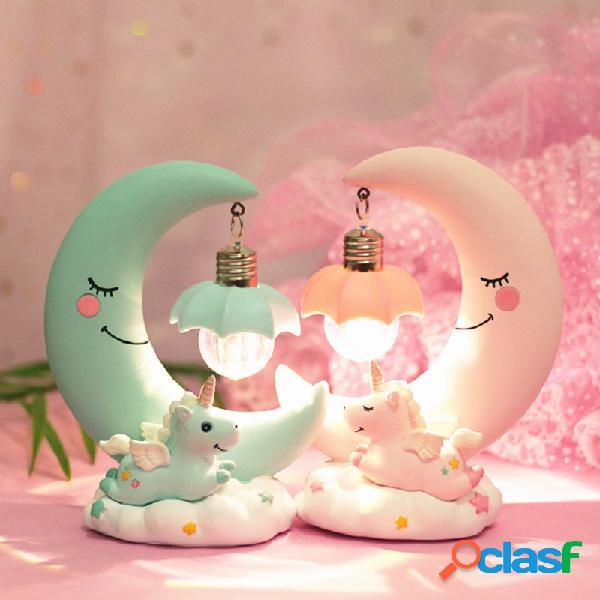 Lámpara led unicornio luz de la luna lámpara luminosa romántica de noche luminaria regalos ideales