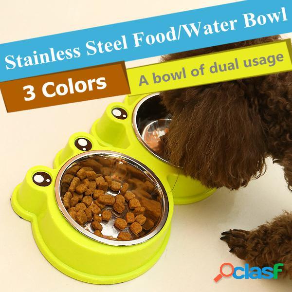 3 colores animales de dibujos animados rana estilo de alimentos agua tazón gato gato acero inoxidable no resbalar alimentación plato