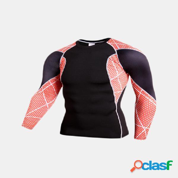 Camiseta de gimnasio profesional transpirable de secado rápido ropa deportiva ceñida de manga larga para hombres