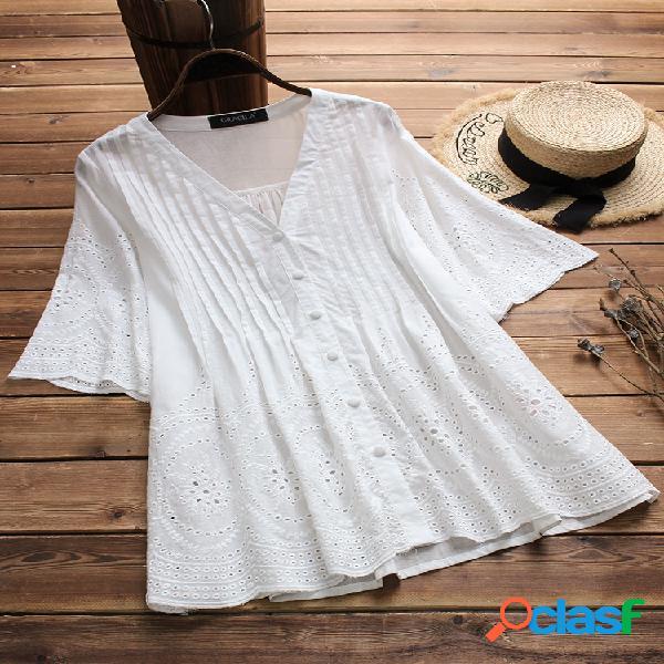 Blusa vintage bordado monocolor